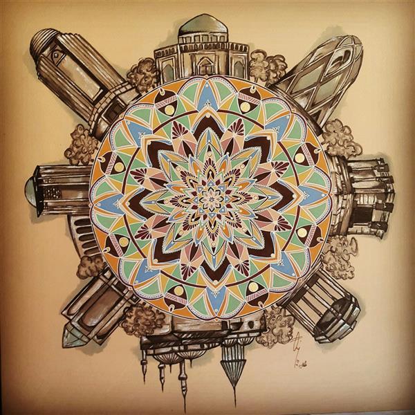 هنر نقاشی و گرافیک محفل نقاشی و گرافیک طلایه طاهرزاده 40.40 new & old world  #talayeh_taherzadeh #mandala #painting #designer #painter #poster_color