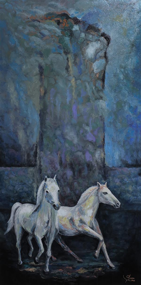 هنر نقاشی و گرافیک محفل نقاشی و گرافیک یعقوب شجاعی رنگ روغن روی بوم  ۷۰×۵۰  سانتیمتر  سال ۱۳۹۹ اسب یعقوب شجاعی