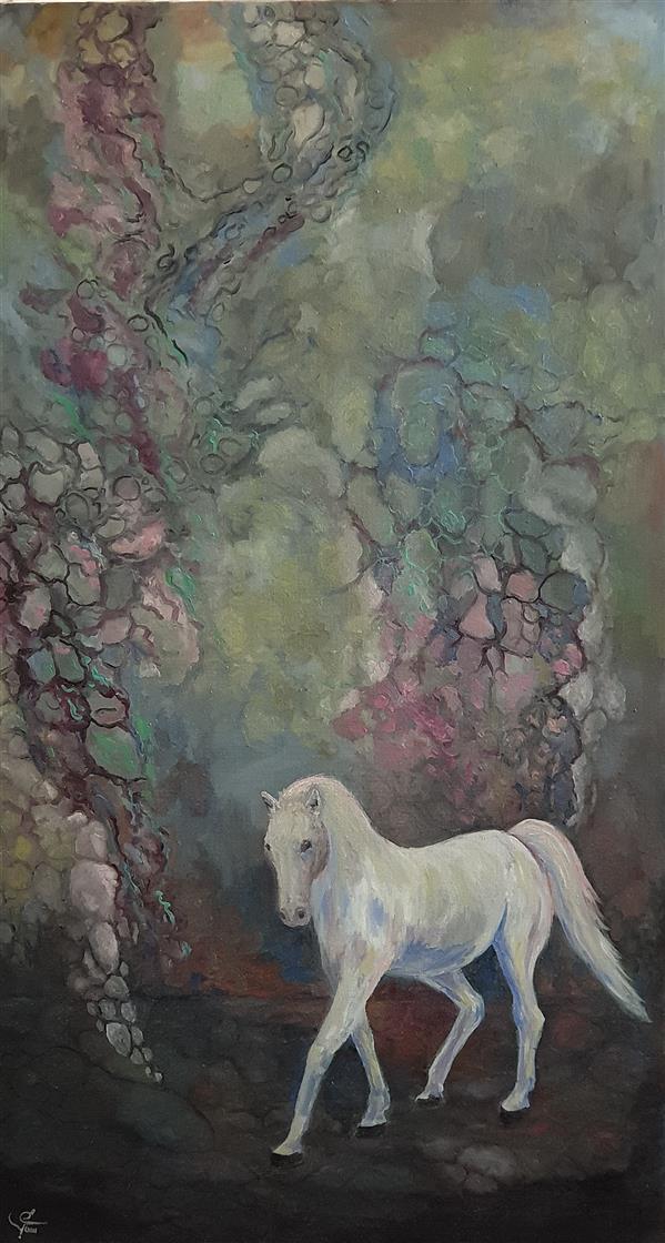 هنر نقاشی و گرافیک محفل نقاشی و گرافیک یعقوب شجاعی رنگ روغن روی بوم ۱۳۹۹ اسب ۹۰×۵۰ سانتیمتر  یعقوب شجاعی