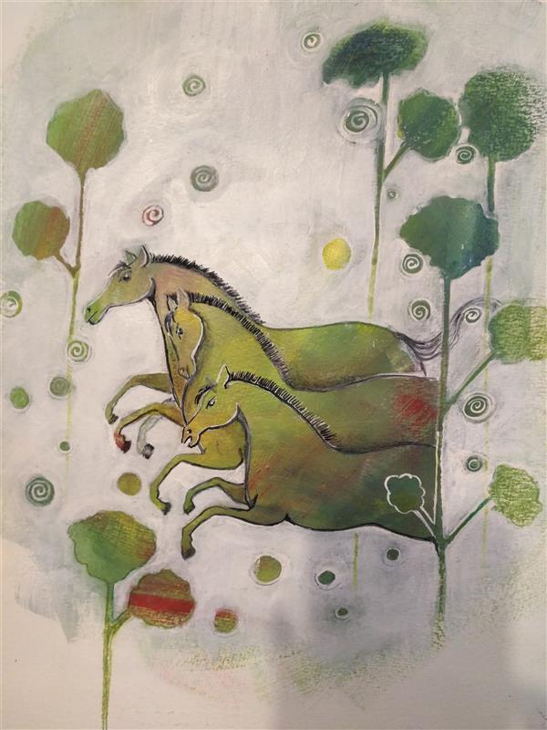 هنر نقاشی و گرافیک محفل نقاشی و گرافیک کتایون عمادی #اکریلیک #35*25 #کاغذ کانسون 300 گرم
