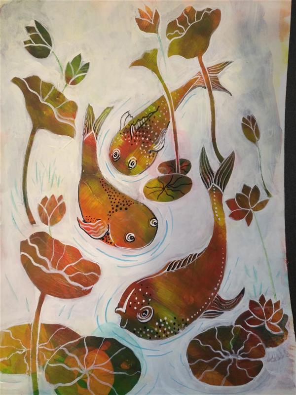 هنر نقاشی و گرافیک محفل نقاشی و گرافیک کتایون عمادی #اکریلیک #مقوا ماکت #a3