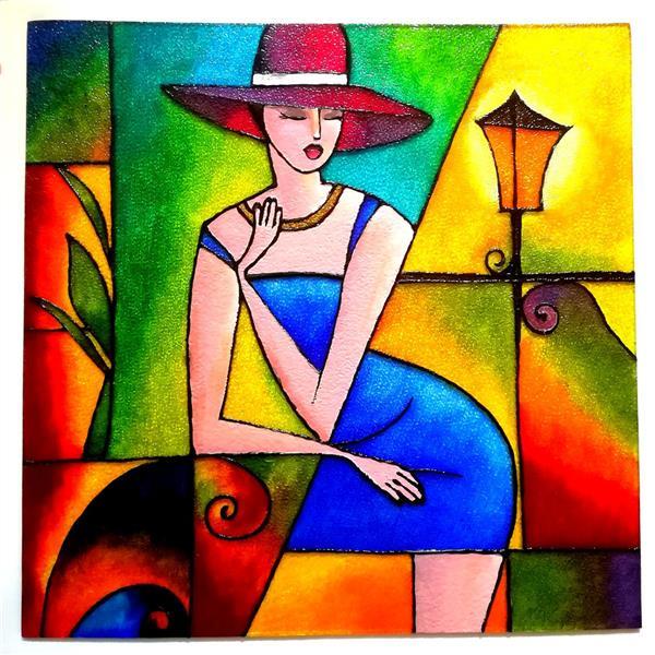هنر نقاشی و گرافیک محفل نقاشی و گرافیک ندا مومن تکنیک : #ویترای روی شیشه مات ابعاد : ۴۵*۴۵