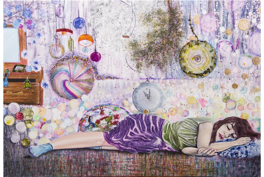 هنر نقاشی و گرافیک محفل نقاشی و گرافیک مهشیدی داستان دختریست که سالهاست به خوابی مخملی (بر امواج متلاطم اضطرابها و نگرانی هاش🌊🌊🌊🌊) فرو رفته ، کائنات پیرامون اون مدام در حال تغییر کردنه،  ولی اون برای فرار از کشمکش ها ، اضطرابها و درگیری ها چشمهاشو روی همه چیز بسته و در بعد دیگری از این جهان ، یعنی رویا ، عواطف و دنیای درونش زندگی میکنه