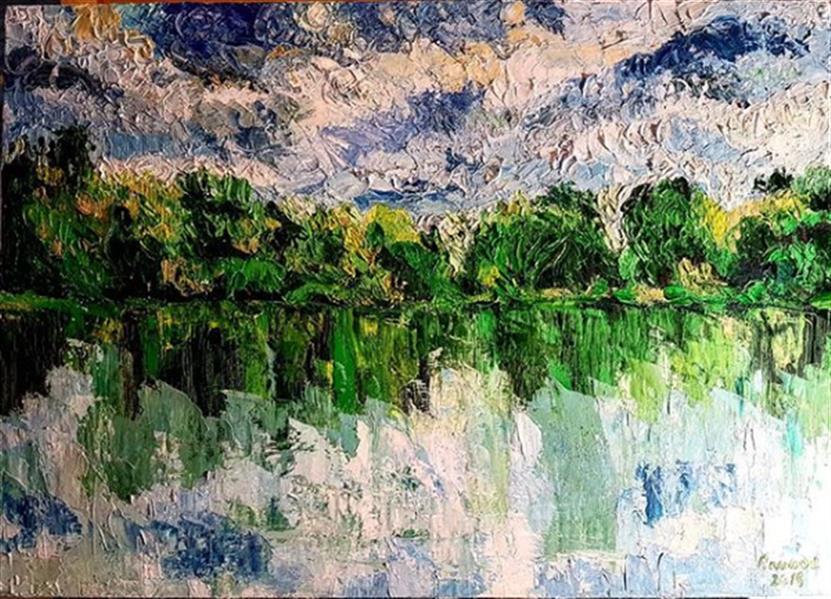 هنر نقاشی و گرافیک محفل نقاشی و گرافیک rambod abdi fakhrai جنگل و دریاچه - سبک امپرسیونیزم - رنگ روغن بر پنل چوبی - اندازه 50*70