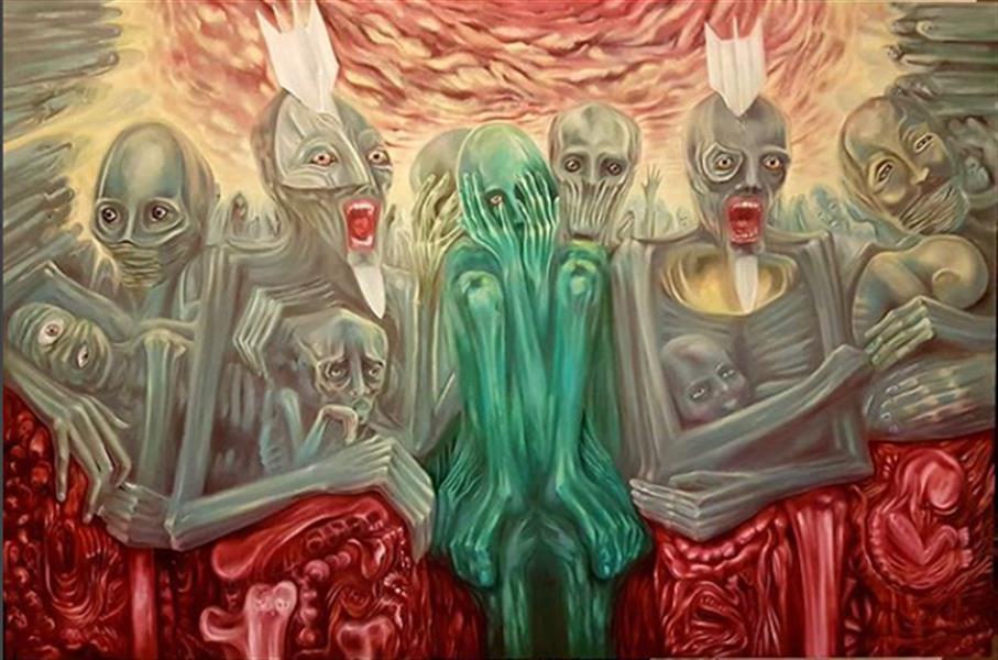 هنر نقاشی و گرافیک محفل نقاشی و گرافیک rambod abdi fakhrai دیوانگی جنگ - رنگ روغن روی بوم - اندازه 100* 150