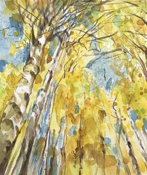 هنر نقاشی و گرافیک محفل نقاشی و گرافیک مژده سیادت #آبرنگ #جنگل پاییزی #25x20