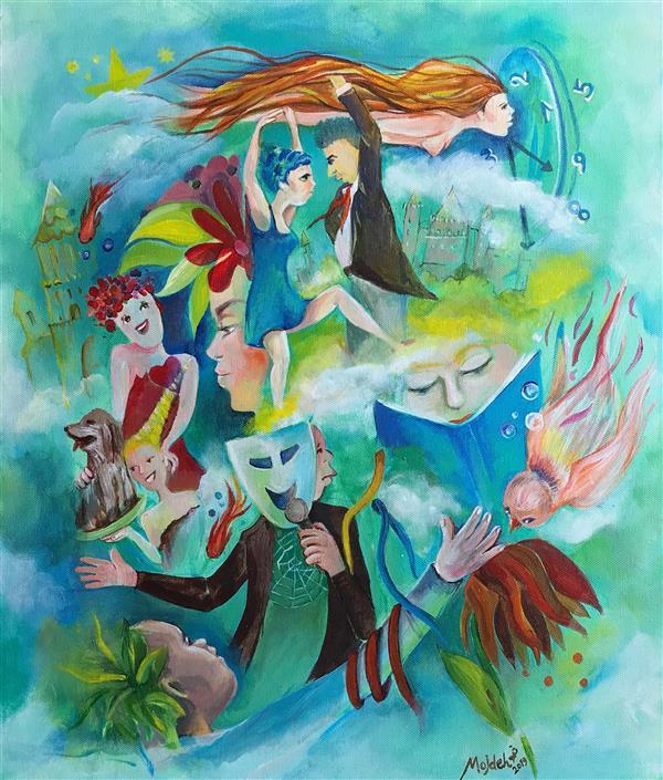 هنر نقاشی و گرافیک محفل نقاشی و گرافیک مژده سیادت اکرلیک #بوم #تصویرسازی#  #افسانه های   قاراشمیش  ٥٠در٧٠