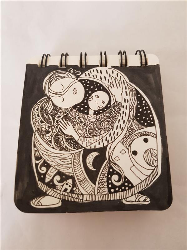 هنر نقاشی و گرافیک محفل نقاشی و گرافیک نگین خلیلی #آغوش #سایز:۸*۸cm