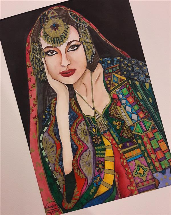 هنر نقاشی و گرافیک محفل نقاشی و گرافیک یگانه شیخالاسلامی عروس افغان/قطع A3/آبرنگ و ماژیک (میکس مدیا) #نقاشی #میکس_مدیا #پرتره #آبرنگ