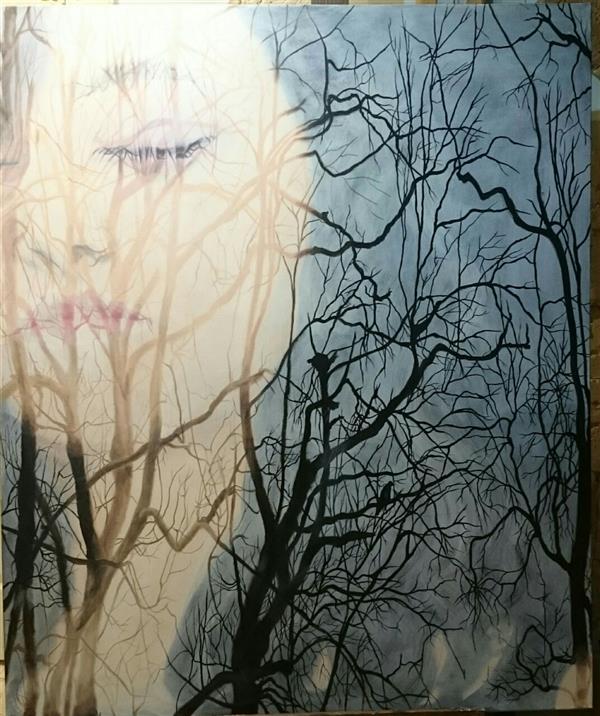 هنر نقاشی و گرافیک محفل نقاشی و گرافیک حورا پیشقدم #acrylic #graphic #art_media #portrait #tree #modern_art #hoorapishghadam