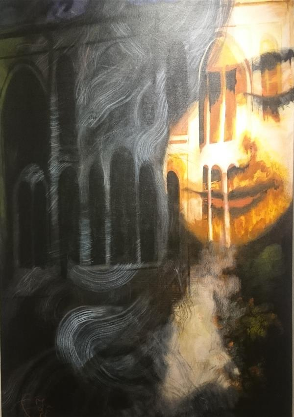 هنر نقاشی و گرافیک محفل نقاشی و گرافیک حورا پیشقدم #در اتاقی که به اندازه یک تنهایی ست #میکس مدیا#اکرلیک روی بوم#حوراپیشقدم ۱۳۹۷ #hoorapishghadam
