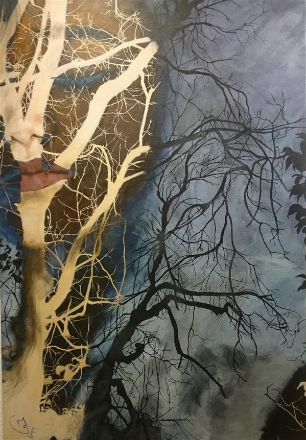 هنر نقاشی و گرافیک محفل نقاشی و گرافیک حورا پیشقدم #خفته از سودای برپا خواستن #اکرلیک روی بوم #میکس مدیا #حوراپیشقدم  #hoorapishghadam