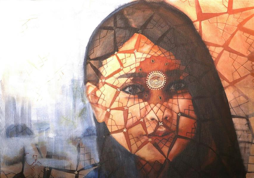 هنر نقاشی و گرافیک محفل نقاشی و گرافیک حورا پیشقدم نام اثر: می توان با صورتک ها،  رخنه دیوار را پوشاند  تکنیک: اکریلیک روی بوم  ابعاد: 100*70 قیمت: 3/000/000تومان #hoorapishghadam  #حورا پیشقدم