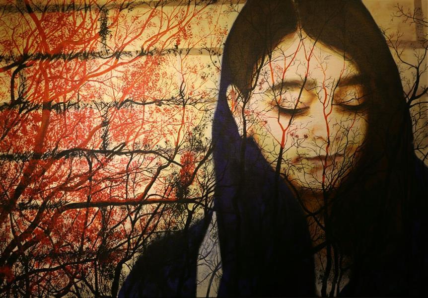 هنر نقاشی و گرافیک محفل نقاشی و گرافیک حورا پیشقدم نام اثر: دخترک افسانه می خواند  تکنیک: اکریلیک،  مختلط روی بوم  ابعاد: 100*70 #hoorapishghadam  #حورا پیشقدم