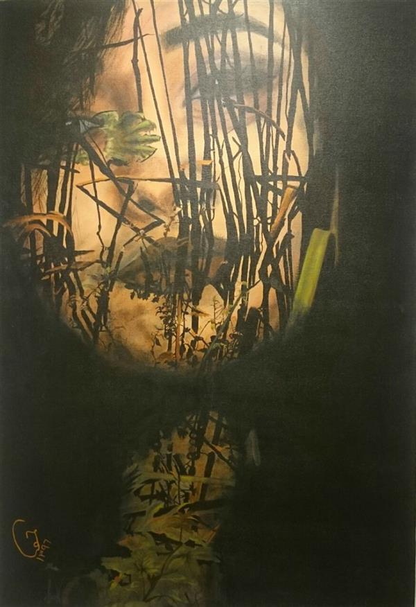 هنر نقاشی و گرافیک محفل نقاشی و گرافیک حورا پیشقدم نام اثر: همچون حباب های گریزان بر چهره ی فشرده ی مرداب  تکنیک: اکریلیک  ابعاد: 100*70 #hoorapishghadam  #حورا پیشقدم