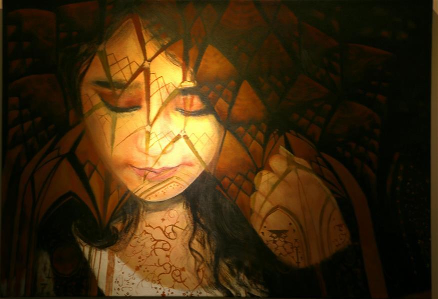 هنر نقاشی و گرافیک محفل نقاشی و گرافیک حورا پیشقدم #دخترک افسانه می خواند اکریلیک روی بوم 100*70 #حوراپیشقدم