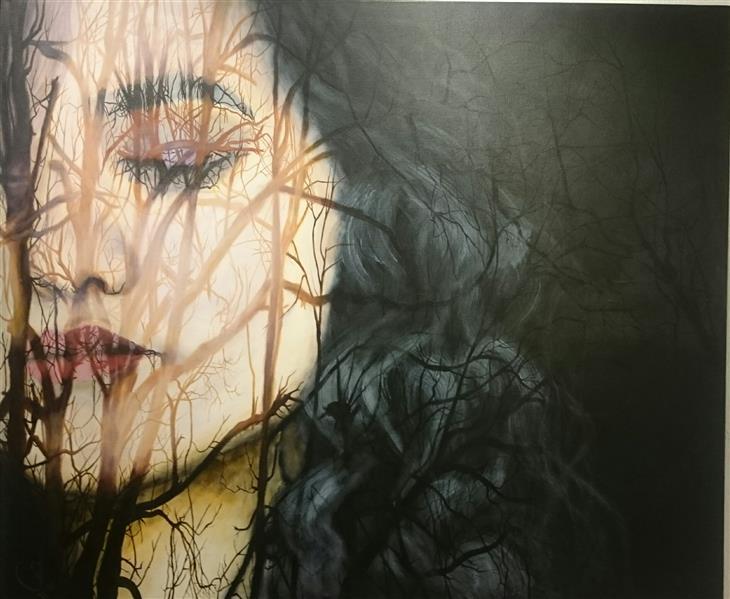 هنر نقاشی و گرافیک محفل نقاشی و گرافیک حورا پیشقدم #در شب کوچک من افسوس باد با برگ درختان میعادی دارد اکریلیک روی بوم 120*100 #حوراپیشقدم