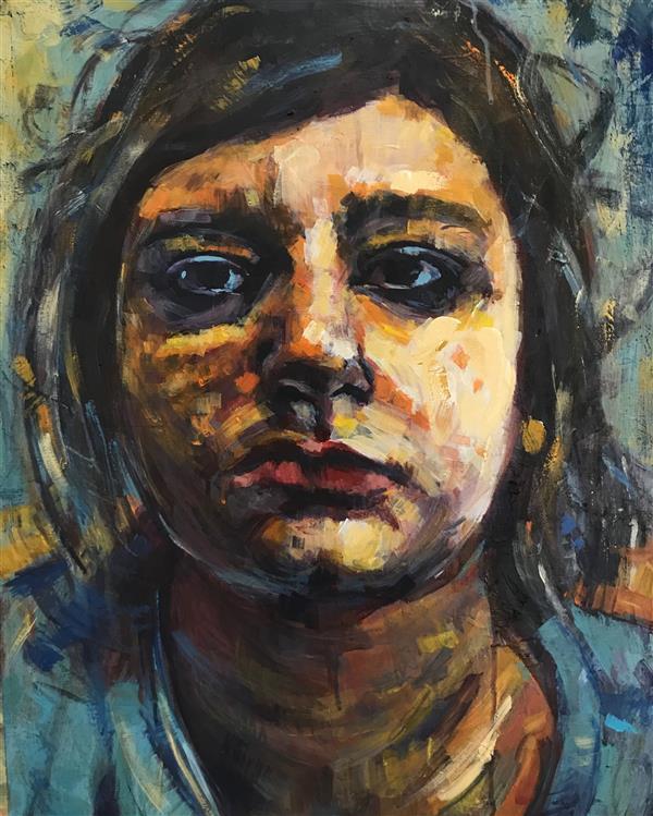 هنر نقاشی و گرافیک محفل نقاشی و گرافیک Mahnaz keyhani Self portrait