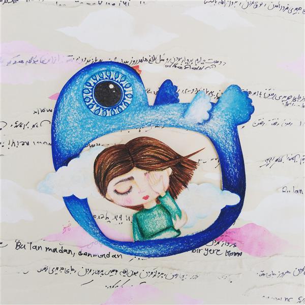 هنر نقاشی و گرافیک محفل نقاشی و گرافیک فائزه آسایش #تصویرسازی #پرنده