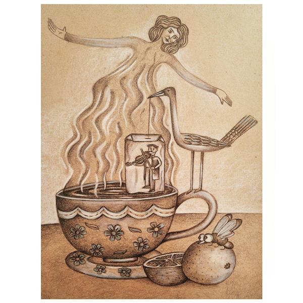 هنر نقاشی و گرافیک محفل نقاشی و گرافیک پردیس چوپانی رقص روی فنجان  قطع کار:A4 تکنیک مداد  #تصویرسازی #مداد