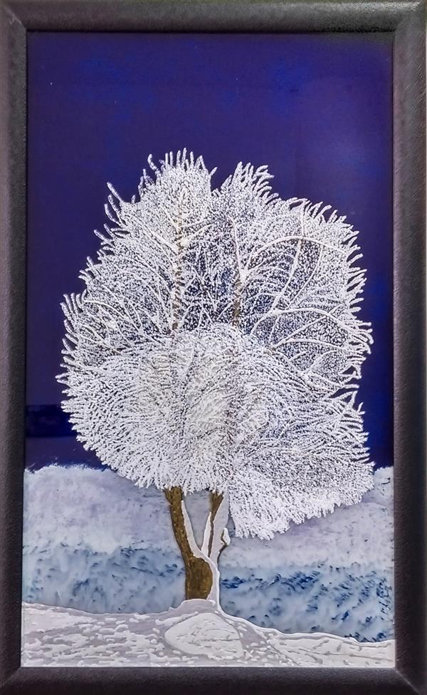 هنر نقاشی و گرافیک محفل نقاشی و گرافیک احمد شکاری کار شده روی #شیشه  #زمستان