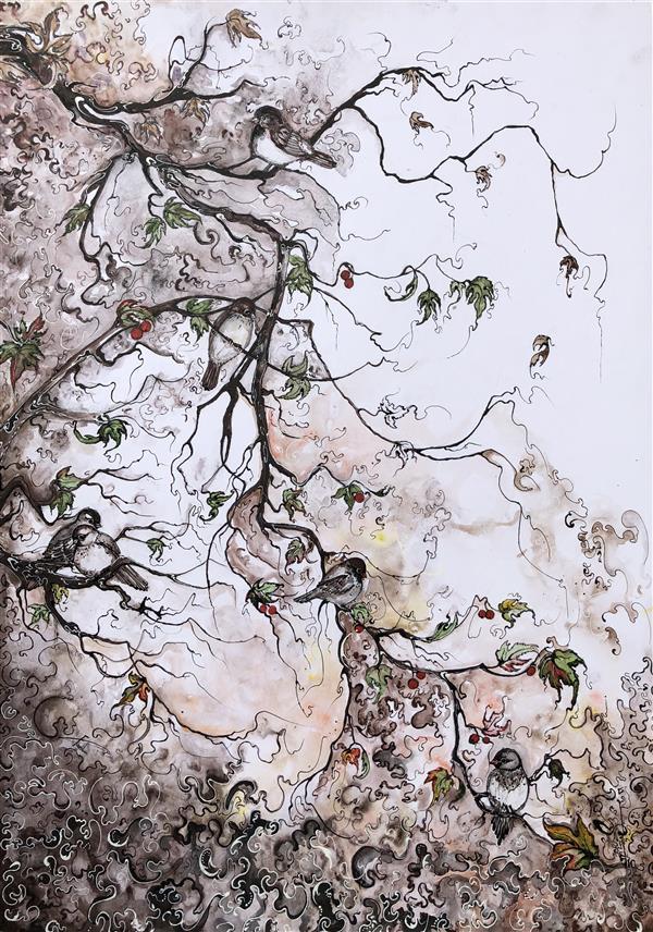 هنر نقاشی و گرافیک محفل نقاشی و گرافیک Rose Farshin نام اثر: Observer تکنیک: Acrylic & watercolor سایز: 50 * 70