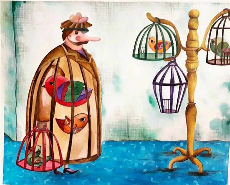هنر نقاشی و گرافیک محفل نقاشی و گرافیک محبوبه افضلی  #تصویرسازی #پرنده فروش