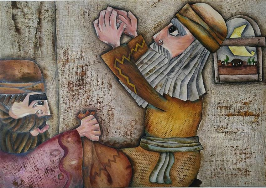 هنر نقاشی و گرافیک محفل نقاشی و گرافیک محبوبه افضلی  تصویرسازی یکی از داستان های کتاب  ملانصرالدین ،در پنج فریم ، این اثر فریم اول کار است . تکنیک چاپ ،اکرولیک و مداد رنگی