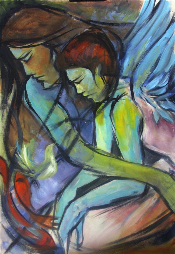 هنر نقاشی و گرافیک محفل نقاشی و گرافیک افتابگردان نقاشی رنگ وروغن .#فرشته _ها#angel#art#هنرمندان_زن#هنرمند#