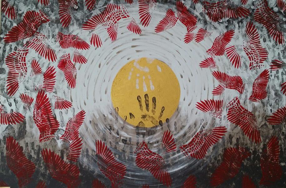 هنر نقاشی و گرافیک محفل نقاشی و گرافیک mahnam barzin حق و باطل 80*120 #اکریلیک#120*80#انتزاعی