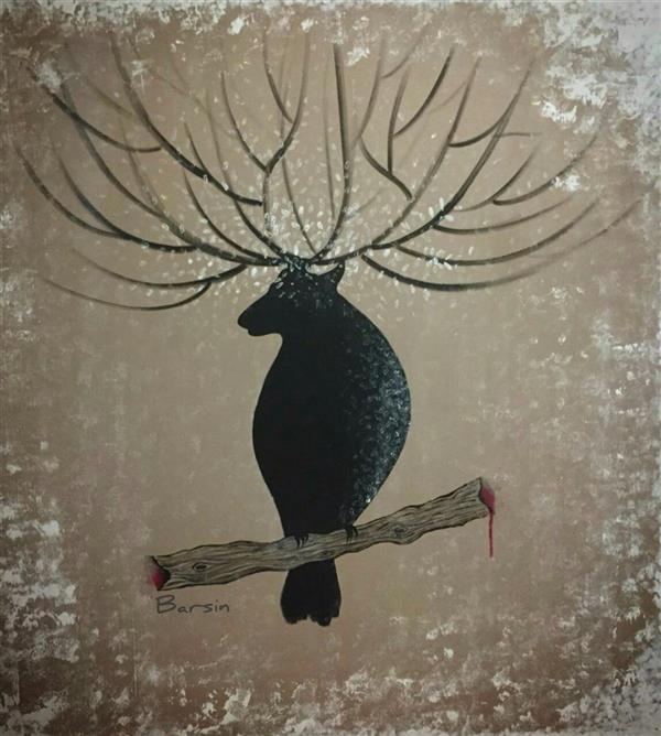 هنر نقاشی و گرافیک محفل نقاشی و گرافیک mahnam barzin بخت شوم نگارگری مدرن  اکریلیک روی بوم اثری از مهنام برزین