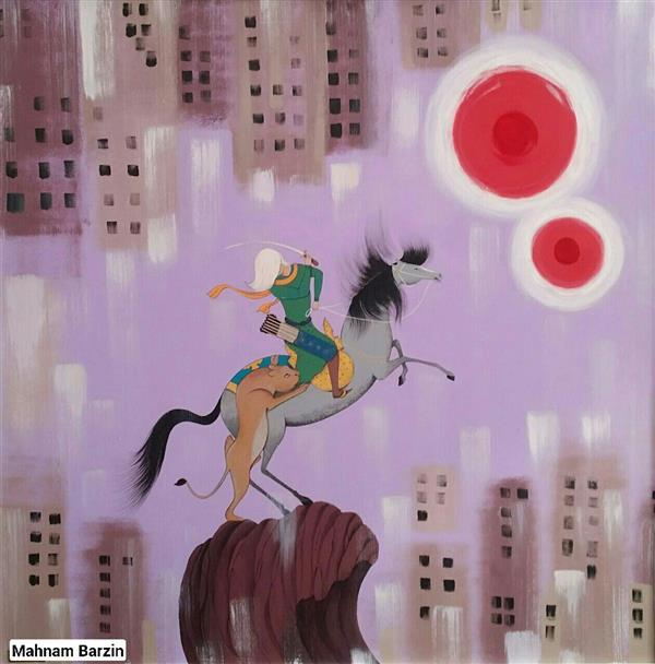 هنر نقاشی و گرافیک محفل نقاشی و گرافیک mahnam barzin تکنیک : اکریلیک روی بوم سبک : نگارگری مدرن اندازه :80*80