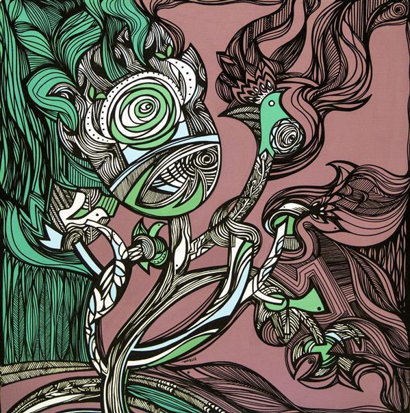 """هنر نقاشی و گرافیک محفل نقاشی و گرافیک آزاده نیکو بداهه 9/  Improvisation 9 دست هایم لابه لای موهایت شاخ شده اند هوای کوه به سرت نزند وحشیِ من باش.  (شعر اثر برکرفته از کتاب """" بر بالهای کرگدن"""" آزاده نیکو)  آزاده نیکو /Azadeh Nikooمیکس مدیا/ Mix Media1395/201660x60 CM"""