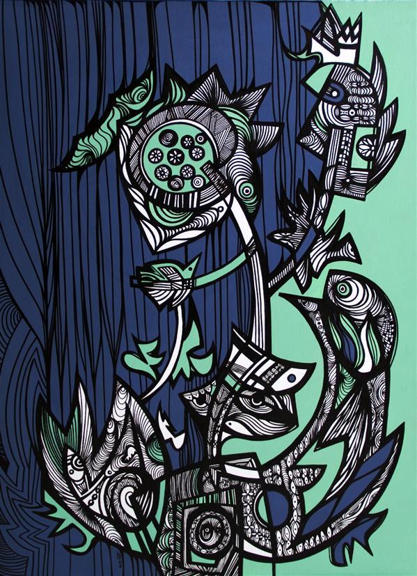 """هنر نقاشی و گرافیک محفل نقاشی و گرافیک آزاده نیکو بداهه 10/  Improvisation 10 امشب شانه هایم رها کرده سَرم سَر به هوا چه افتاده تَرم. (شعر اثر برگرفته از کتاب """" بر بالهای کرگدن"""" آزاده نیکو) آزاده نیکو /Azadeh Nikooاکریلیک و ماژیک / Mix Medid on Convas1395/2015/ 60.80 CM"""