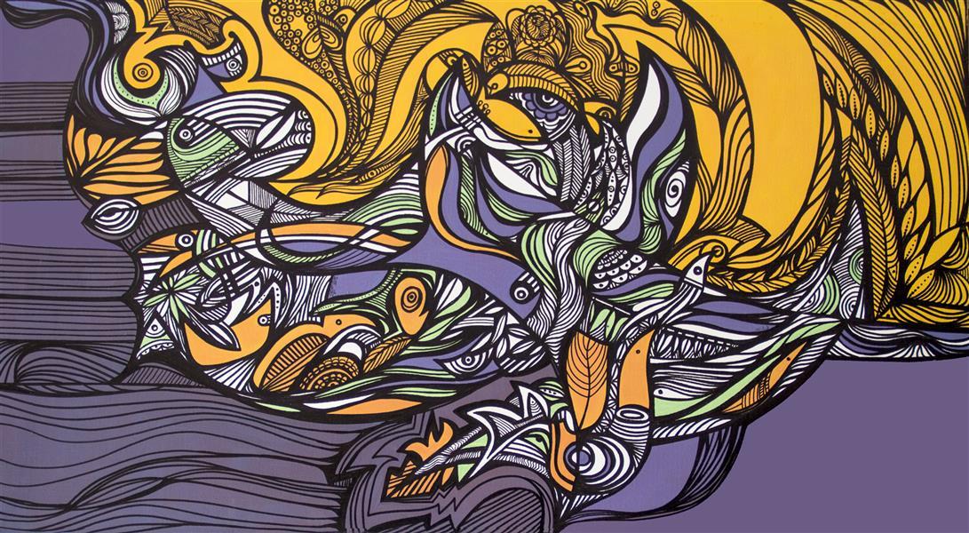 """هنر نقاشی و گرافیک محفل نقاشی و گرافیک آزاده نیکو بداهه 7  Improvisation 7   درونم غلغلهست جنینِ نبودهام برایِ هستن مادرِ خیالش را بیهوا چنگ میزند* (شعر اثر برگرفته از کتاب """" بر بالهای کرگدن"""" آزاده نیکو)     ترکیب مواد (اکریلیک و ماژیک) بر بوم  Mixed media (acrylic and marker) on canvas      1395  2015      70 x70  70.70"""