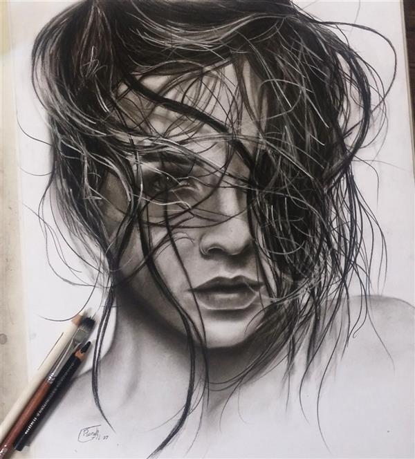 هنر نقاشی و گرافیک محفل نقاشی و گرافیک پونه گیل #کنته زغال# هایپ رئال