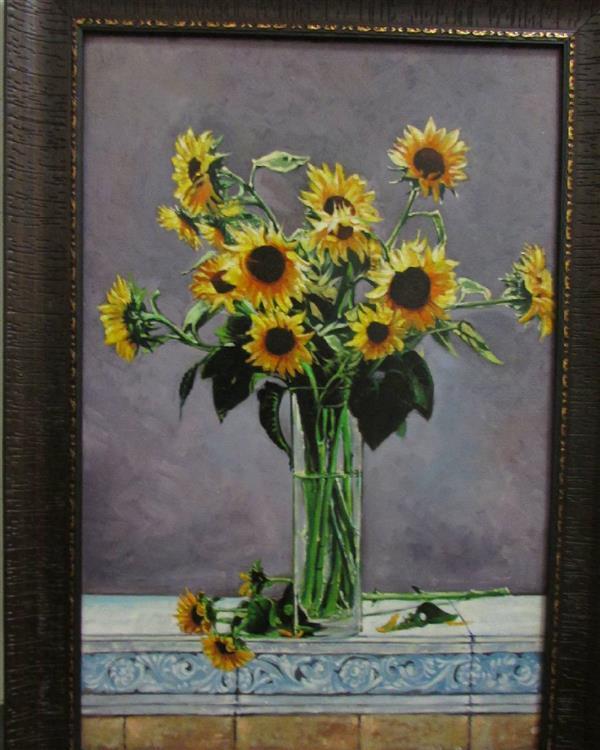 هنر نقاشی و گرافیک محفل نقاشی و گرافیک علیرضا خانی سامیان رنگ و روغن روی بوم(60*40) گلهای آفتابگردان کار رئال می باشد .