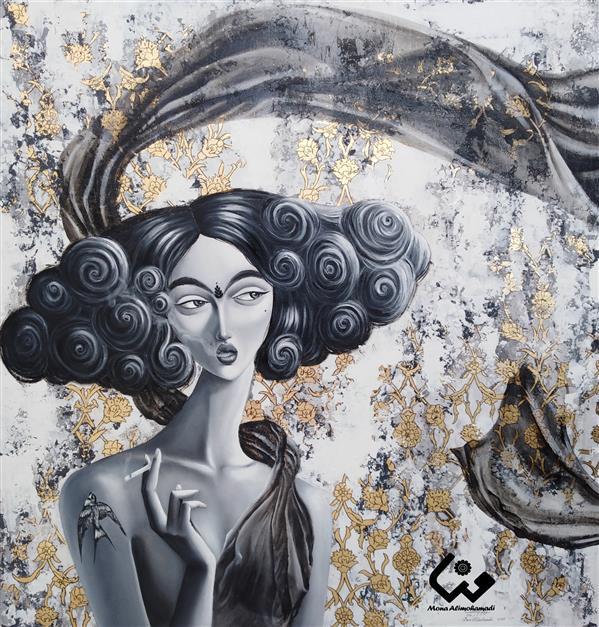 هنر نقاشی و گرافیک محفل نقاشی و گرافیک منا علی محمدی نام اثر:رویا #رنگ_روغن_روی_بوم#ورق_طلا#زن_قاجار#اکرلیک_روی_بوم#نقاشی_ارجینال#تابلو_نقاشی سایز:100*100