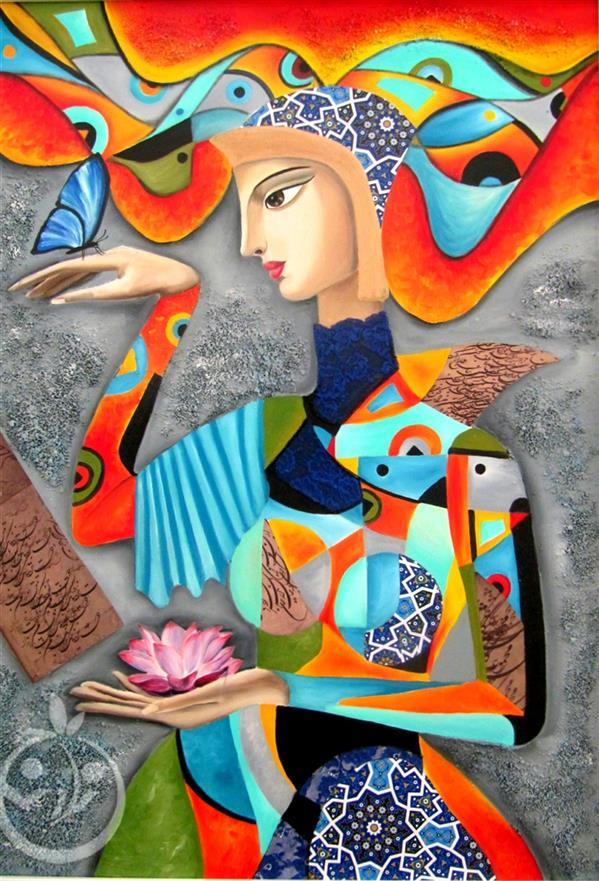 هنر نقاشی و گرافیک محفل نقاشی و گرافیک منا علی محمدی نام اثر:ماهور تکنیک:#رنگ_روغن#کلاژ سایز:100*80 همراه با قاب #یلدا
