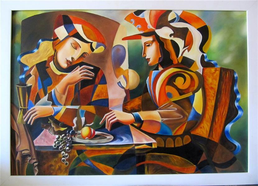هنر نقاشی و گرافیک محفل نقاشی و گرافیک منا علی محمدی نام اثر:مجنون تکنیک:#رنگ_روغن_روی_بوم  #عشق سایز:100*70