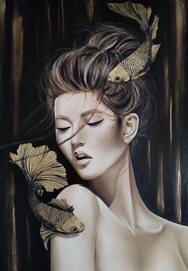 هنر نقاشی و گرافیک محفل نقاشی و گرافیک منا علی محمدی تکنیک رنگ روغن،کار شده با ورق طلا  سایز:70*50 #تابلو_نقاشی #رنگ_روغن_روی_بوم #ورق_طلا #تابلو_ارجینال #تابلو_مدرن #تابلو_دکوراتیو