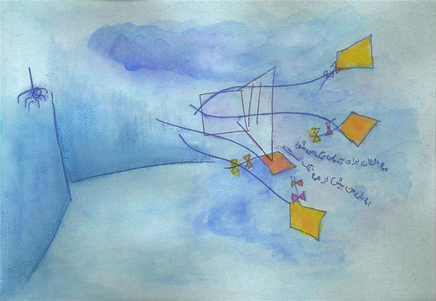 هنر نقاشی و گرافیک محفل نقاشی و گرافیک شقایق کندری ترکیب مواد بر روی مقوا سایز: 30x40 دلم میخواست دیوارهای اتاقم #آبی بود و تخت خوابم #آبی بود و حتی عنکبوت گوشه سقف #آبی بود..  می دانی؟ همه دلشان برای #آسمان تنگ میشود. من اما دلم بیش از همه تنگ است. ببین! به هر انگشتم نخی بستم، #بادبادک_های_زیادی_دارم.. تو اگر میخواهی برایم کاری کنی... فقط #پنجره_را_باز_کن