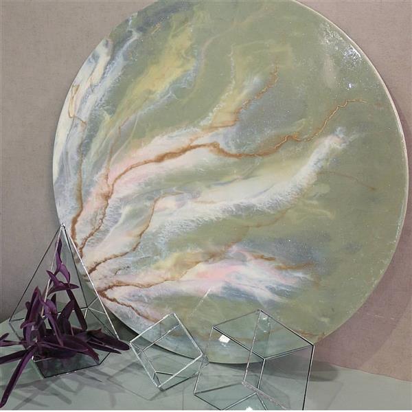 هنر نقاشی و گرافیک محفل نقاشی و گرافیک مهناز کریمی نقاشی آبستره با رزین  تکنیک سنگ قطر ۷۰سانتیمتر