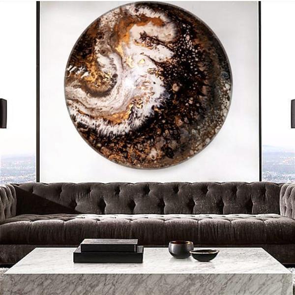 هنر نقاشی و گرافیک محفل نقاشی و گرافیک مهناز کریمی نقاشی آبستره رزین  قطر ۷۰سانتیمتر  تکنیک ریزش رنگ
