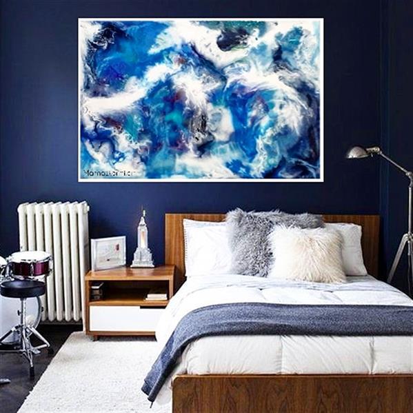 هنر نقاشی و گرافیک محفل نقاشی و گرافیک مهناز کریمی نقاشی آبستره رزین  سایز ۱۰۰×۷۰ تکنیک لایه ای ۳لایه