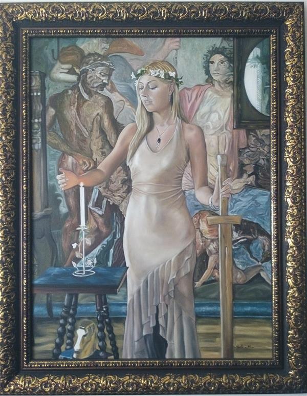 هنر نقاشی و گرافیک محفل نقاشی و گرافیک nadia khiatzadeh سبک #رئالیسم ،مدیا#رنگ روغن ،ماده سازنده #بوم،سال خلق 1395،ابعاد 60*80،#نام اثر زن درکلیسا.با قاب