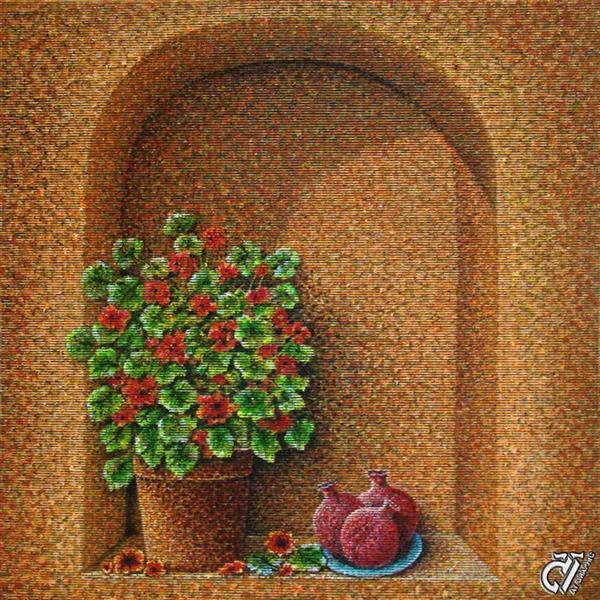 هنر نقاشی و گرافیک محفل نقاشی و گرافیک ایرج ملکی #بدون_عنوان - #آکرلیک روی حصیر ۷۰ × ۷۰ ( ۱۳۹۷ )