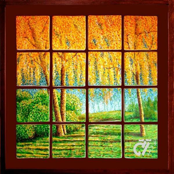 هنر نقاشی و گرافیک محفل نقاشی و گرافیک ایرج ملکی #آکرلیک روی کاشی دکوراتیو دست ساز ( ۵۰ × ۵۰ )