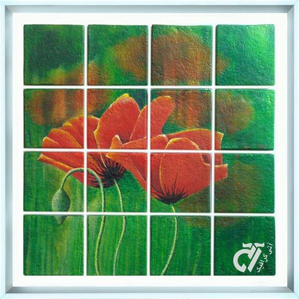 هنر نقاشی و گرافیک محفل نقاشی و گرافیک ایرج ملکی #آکرلیک روی کاشیهای دکوراتیو دست ساز ( ۷۰ × ۷۰  )