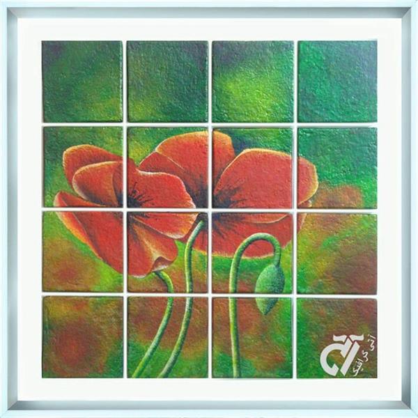 هنر نقاشی و گرافیک محفل نقاشی و گرافیک ایرج ملکی #آکرلیک روی کاشی های دکوراتیو دست ساز . ( ۷۰ × ۷۰ )